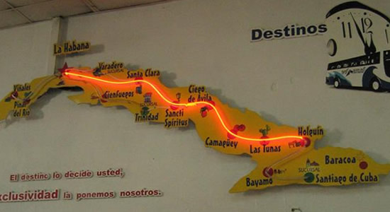 Viazul illuminating cuba map