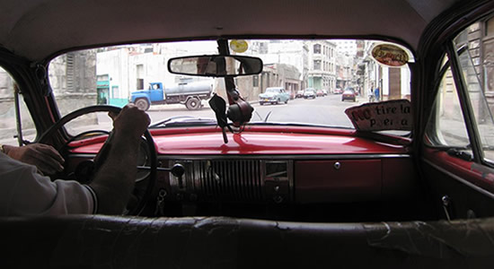 Cuban classic taxi interior