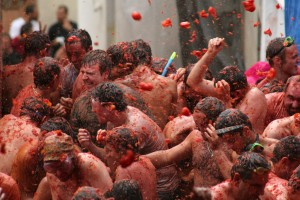 La Tomatina - Public domain image from Wikipedia, by Aaron Corey