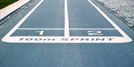 Start line for 100m sprint.